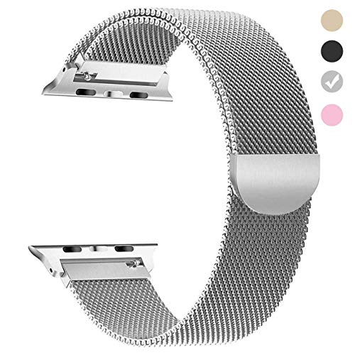 Tirnga Compatible with Apple Watch Band 40mm, iWatch Bands 40mm Series 4 Milanese Loop Men Silver