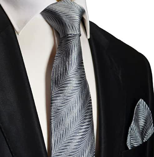 100% Silk Tie and Pocket Square . Silver