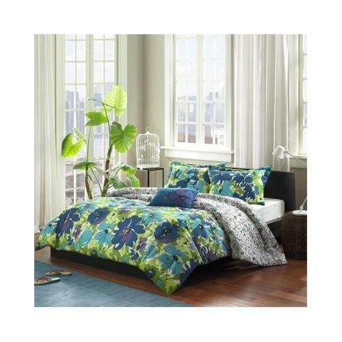 Modern Comforter Bedding Set Blue Green Purple Floral with a Pillow (Full/queen) Includes Scented Candle Tarts