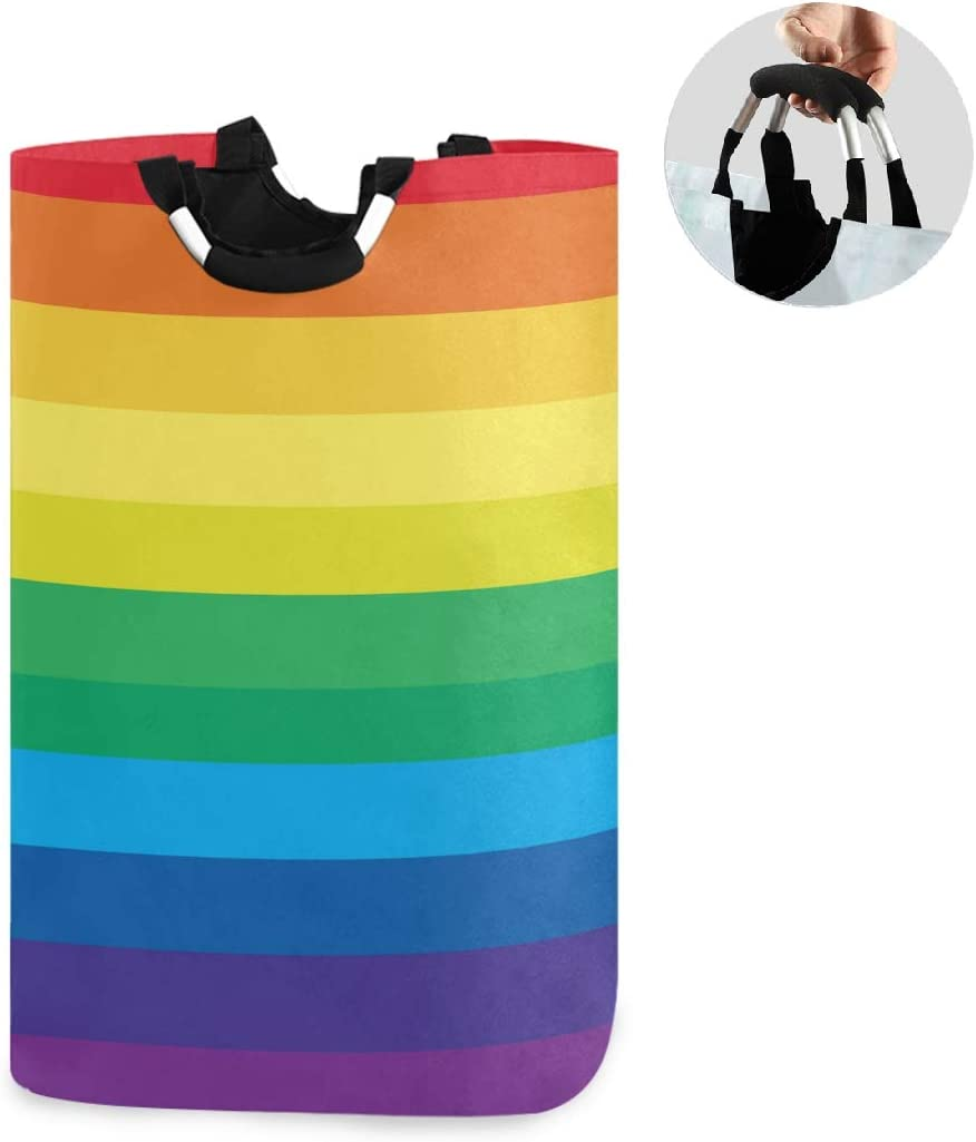 ALAZA Large Laundry Basket Striped Multicolored Rainbow Laundry Bag Hamper Collapsible Oxford Cloth Stylish Home Storage Bin with Handles, 22.7 Inch