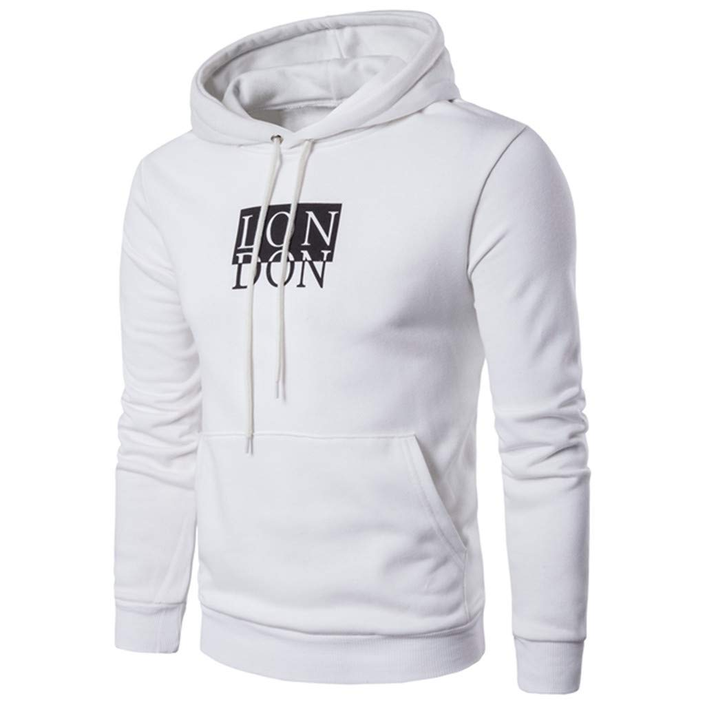 Unisex Men Hooded Sweatshirt Long Sleeve Letter Print Pullover Tops with Pocket (Asian Size:M, White)