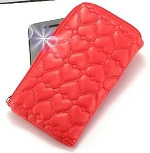 """""""Miss"""" Rojo, Lujosa Billetera / Sostenedor en imitación de cuero acolchonado y con cierre para LG SU210. Auténtica Funda / Estuche con correa para transportar para teléfonos móviles."""