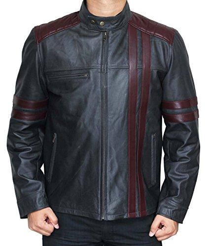 Fjackets Biker Burgundy Stripes Grey Leather Jacket for Him 3XL (Gang Jacket Biker)