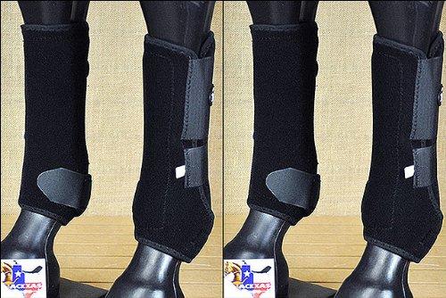 LARGE TOUGH1 FRONT REAR LEG EXTREME VENTED SPORTS HORSE SPLINT BOOTS BLACK by Tough 1