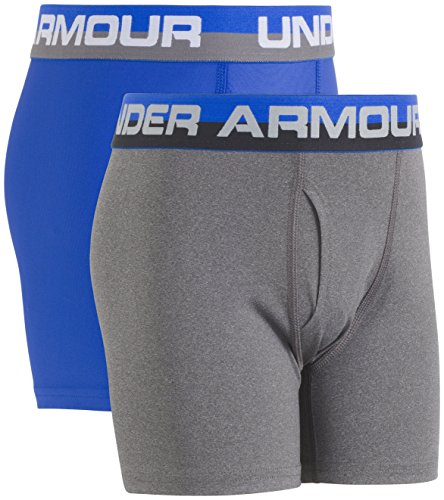 (Under Armour Boys' Big 2 Pack Performance Boxer Briefs, Ultra Blue (27X67002-41) / Cool Grey, YLG)