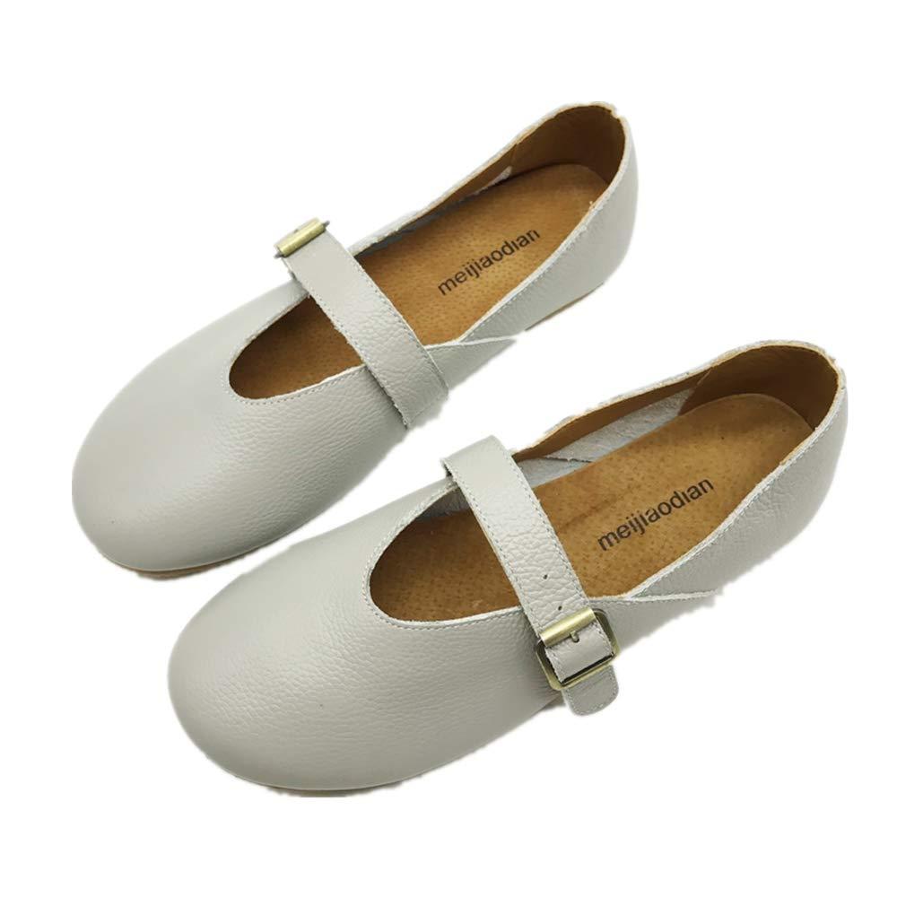 ZHRUI Leder Ballett Ballett Ballett Wohnungen Frauen Schnalle Weichen Komfort Schuhe (Farbe   Grau Größe   EU 36) a82227