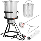 30 QT Aluminum Turkey Deep Fryer Pot and Gas Stove Burner Stand, 6 Pc Set