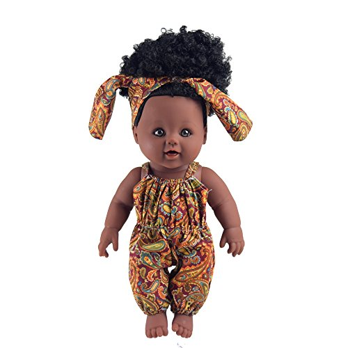 TUSALMO 2019 Newest 12 inch Toy Baby Black Dolls for Kids and Girl, Kids Holiday and Birthday Gift (Brown)