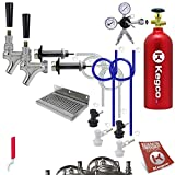 Kegco Deluxe Homebrew Two Tap Door Mount Kegerator Conversion Kit with 5 lb. Aluminum CO2 Tank