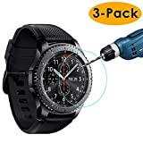 KIMILAR [3-Pack] Compatible Samsung Gear S3 Screen Protector, Waterproof Tempered Glass Screen Protector Compatible Gear S3 Smartwatch, [9H Hardness] [Crystal Clear] [Scratch Resist] [No-Bubble]