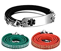 JF.JEWELRY 3 Layers Black Velvet Leather Rivets Wrap Medical Alert ID Bracelet for Women,Free Engraving