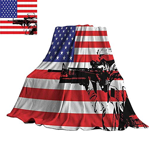 (YOFUHOME American Decor Collection Warm Blanket American Flag Themed Monogram USA Military Soldier with M16 Rifle Sketchy Image 60
