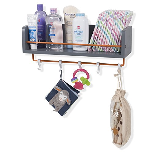 Rustic State Kid's Room Décor Stylish Wooden Floating Shelf with Orange Rails and S Hooks Gray 20 Inch by Rustic State