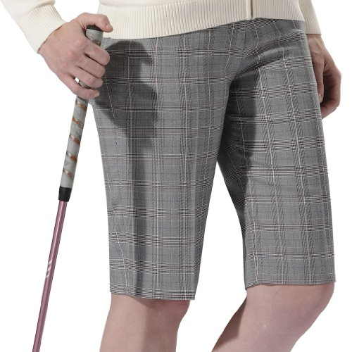 Monterey Club Ladies' Stretchable Plaid Bermuda Shorts #2862(Ivory/Cotton Candy,Size:18) ()