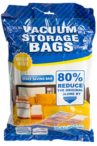 OS Products Multipurpose Premium Vacuum Storage Bags work with any vacuum cleaner OR bonus hand-pump. Great for traveling - PLUS 1 roll up space saver bag (no vacuum needed) perfect size for luggage