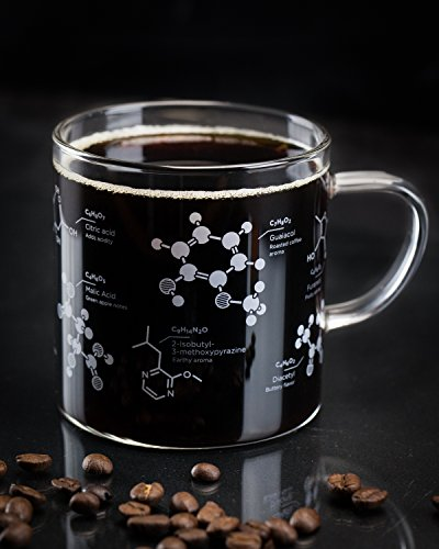 Cognitive Surplus Coffee Chemistry Glass Mug, - Mug Caffeine Molecule