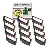 HI-Vision Compatible ERC 30/34/38 (Black/Red) Ink Ribbon Replacement (12 Pack) for ERC-30, M119, M119B, M119D, M133A, M270, M52JB, IT-U375, TM-200, TM-260