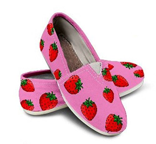 Custom Girls Shoes, Toms Style Shoes, Strawberry Toms, Girls Shoes Pink ()