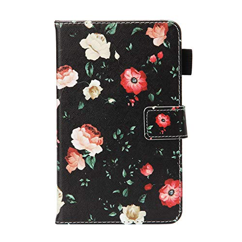 """UUcovers Case for Samsung Galaxy Tab 4 7.0 & Nook 7.0"""" 2014 Cover (SM-T230/ SM-T230NU/ T231/T235), Embossed PU Leather Magnetic Folio Stand TPU Wallet with Pocket Cards Holder, Black Butterfly Flower"""