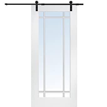 National Door Company ZA09562 Primed MDF 9 Lite True Divided Clear Glass  36u0026quot; X 80u0026quot