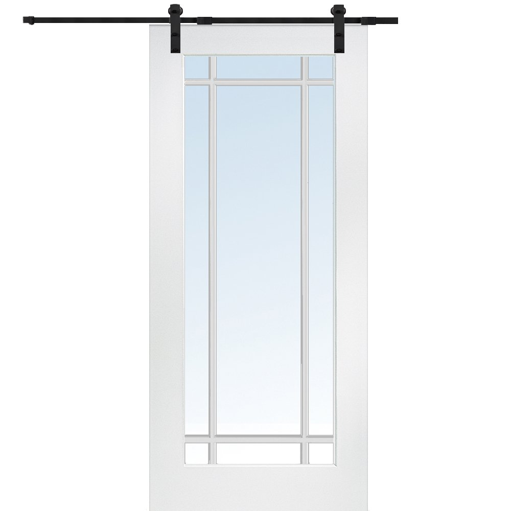 National Door Company Z009562 Primed MDF 9 Lite True Divided Clear Glass 36'' x 80'', Barn Door Unit