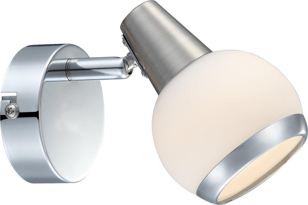 GLOBO Decorativa LED Foco Cromo, níquel Cristal Mate con Anillo Cromado 3W karde 56038–1 56038-1