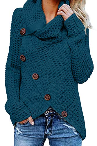 Asvivid Womens Turtle Cowl Neck Asymmetric Wrap Lightweight Ladies Pullover Sweaters with Button Details S Blue Cotton Jewel Neck Sweater