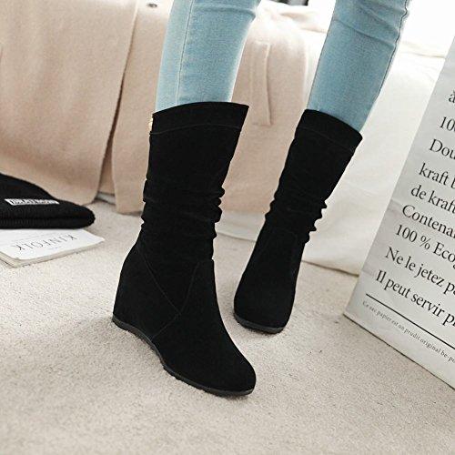 Latasa Dames Middenkuit Binnenkant Wedges Middenkuit Laarzen Zwart
