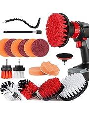 Cottonix Borstelopzetstuk boormachine set 18 stuks, schrobpads en spons, polijstpads, power scrubberborstel met verlengd lang opzetstuk, autopolierpad-kit.