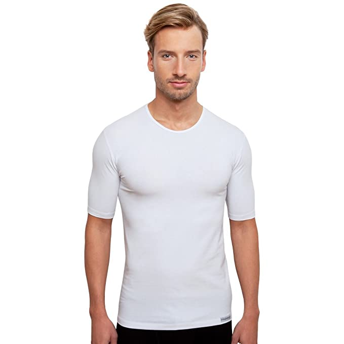 3 weiße Herrenunterhemden, Rundhals, Vorteilsangebot von Schaufenberger:  Amazon.de: Bekleidung