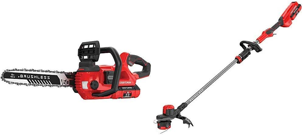 CRAFTSMAN CMCCS660E1 V60 16 Cordless Chainsaw with CMCST960E1 V60 Brushless WEEDWACKER Cordless String Trimmer with Quickwind
