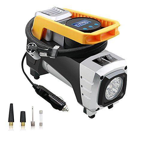 Maison-Market Air Compressor Pump DC 12V 120W 150 PSI Digital Portable Tire Inflator with Auto Shut Off Gauge and...
