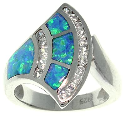 Carolina Glamour Collection Jewelry Trends Sterling Silver Created Blue Opal and Clear CZ Stylish Fan Ring