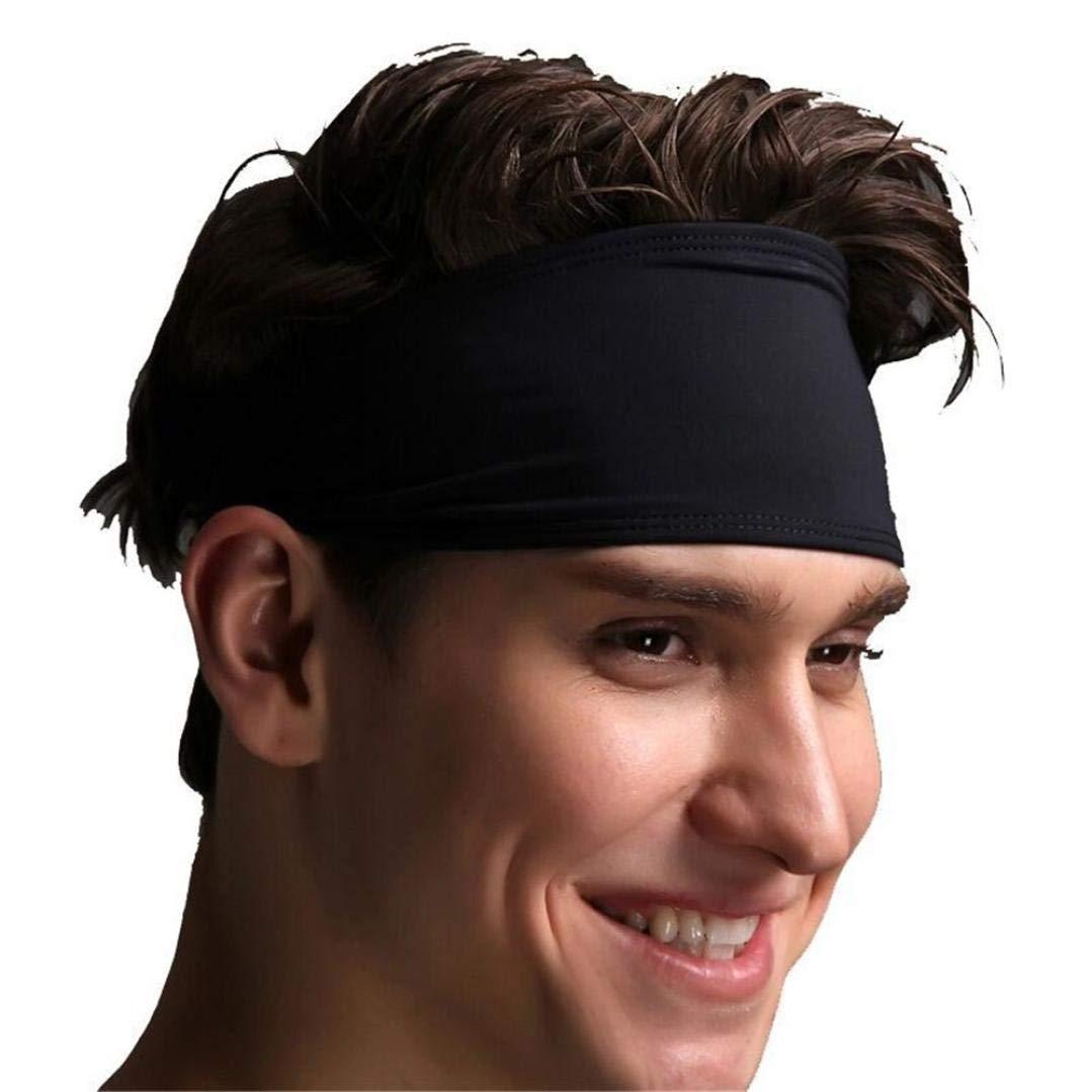 Unisex Men Women Solid Sports Yoga Headband Sweat-absorbent Headband,Mamum Hair Head Band Sweatband Headband Stretch Mens Wrap Elastic Sports Men Thin Gym (Black)