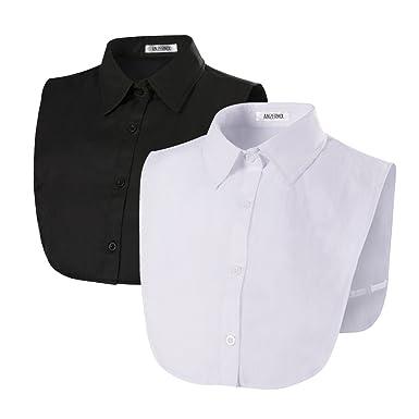Anzermix Damen Kragen Abnehmbare Hälfte Shirt Bluse In Baumwolle  Rundhals-Spitze 2er Pack 9ca08ec24a