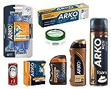 Arko 8-Piece Shaving Set (Maximum Comfort Shaving Foam/Maximum Comfort Shaving Cream/Max Comfort Balm/Gold Power Cologne/Maximum Comfort Cool Lotion/Classic Cream/Shave Soap/Razor)