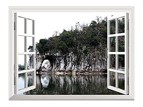 Removable Wall Sticker Wall Mural Beautiful Landscape the Elephant Trunk Hill Creative Window View Wall Decor