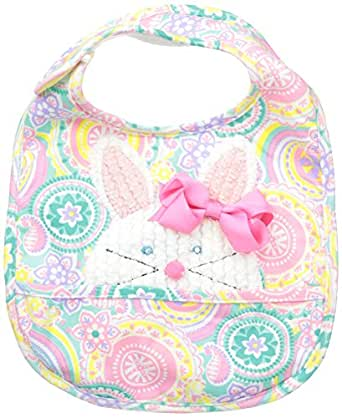 Mud Pie Baby-Girls Newborn Bunny Pocket Bib with Removable Bow, Multi, One Size