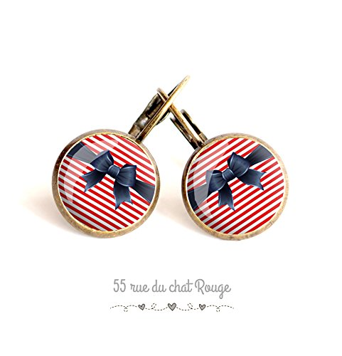 earrings cabochon, bow tie, red stripes, marinière, 50's ()