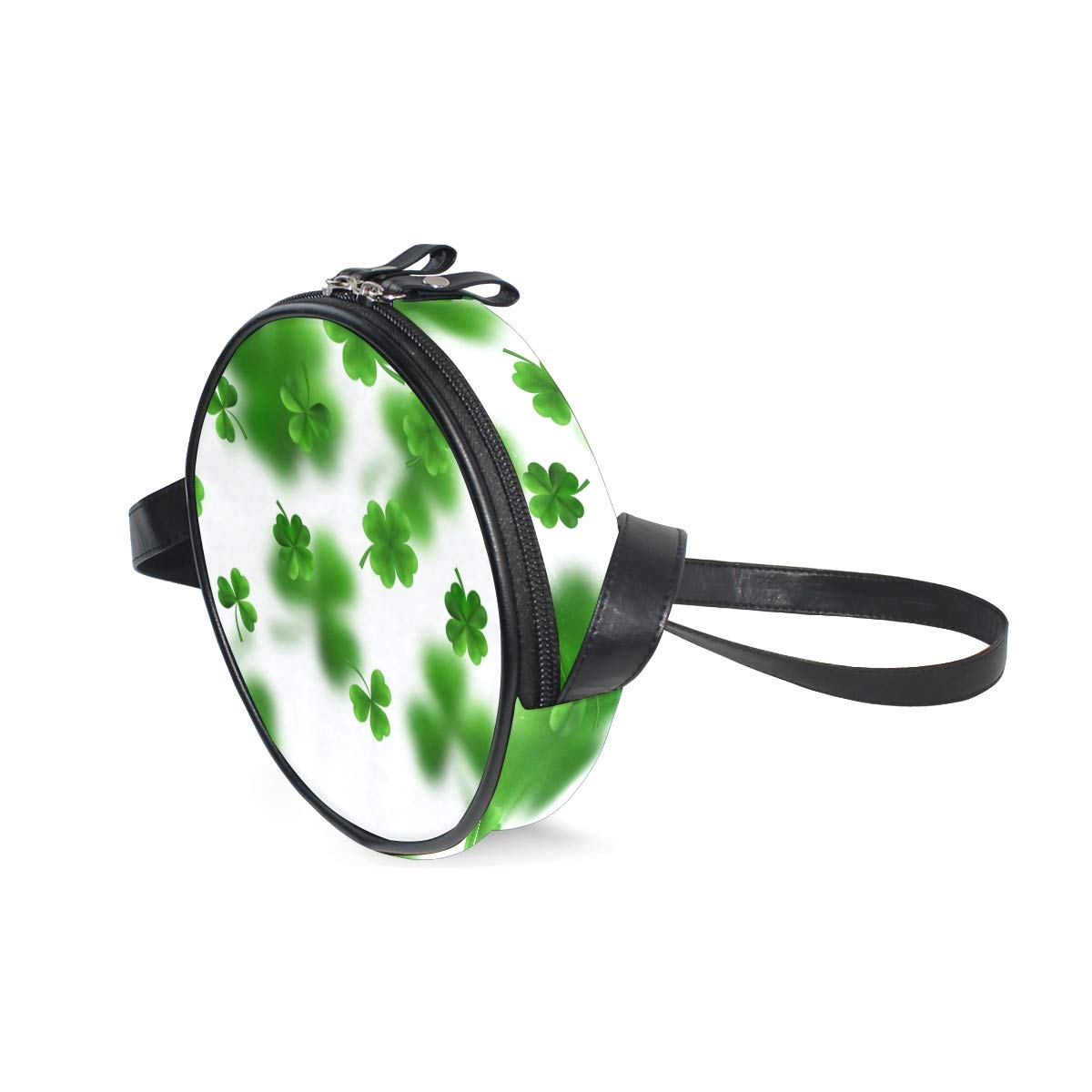 Patricks Day Green ShamrockSuper Cute Design Small Canvas Messenger Bags Shoulder Bag Round Crossbody Bags Purses for Little Girls Gifts Happy St