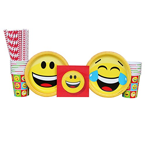 Emojions Party Pack for 16 Guests: Straws, Dessert Plates, Cups, and Beverage Napkins (Chevron Blue Dessert Plates)