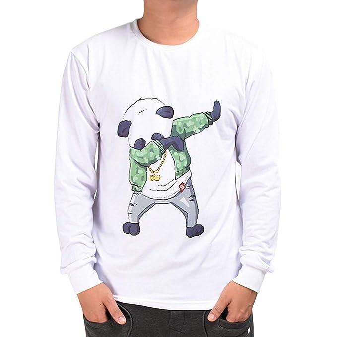 Rawdah_Sudaderas Hombres con Capucha Otoño de los Hombres Casuales 3D Imprimir Swag Panda Hip Hop de Manga Larga Pullover Top Blusa Sudaderas Hombre: ...
