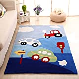 MAXYOYO Boys and Girls Cartoon Carpet Thicken Car Pattern Kids Bedroom Soft Carpet Children's Rugs 75 by 94 Inch
