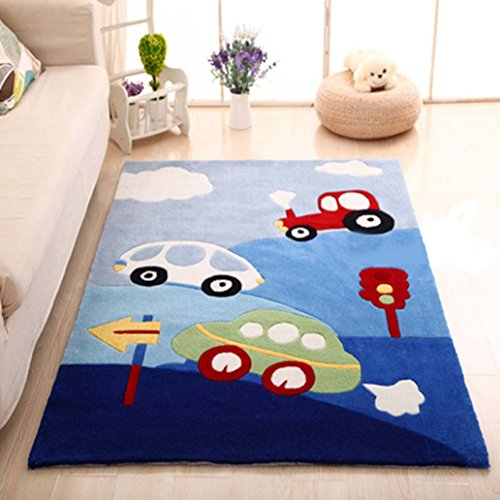 MAXYOYO Boys and Girls Cartoon Carpet Thicken Car Pattern Kids Bedroom Soft Carpet Children's Rugs 75 by 94 Inch by CarPet