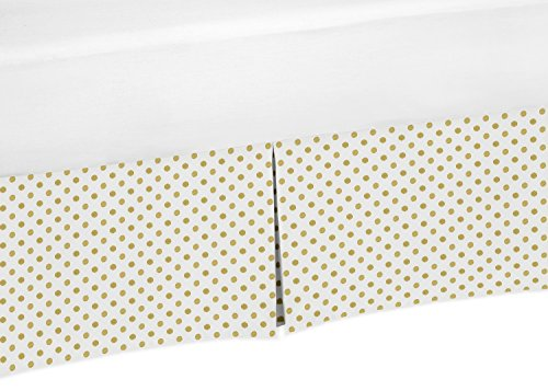 Sweet Jojo Designs Metallic Gold Polka Dot Crib Bed Skirt Dust Ruffle for Girls Amelia Collection Baby Bedding Sets