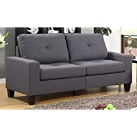 Roundhill Furniture Fernanda Fabric Sofa, Grey