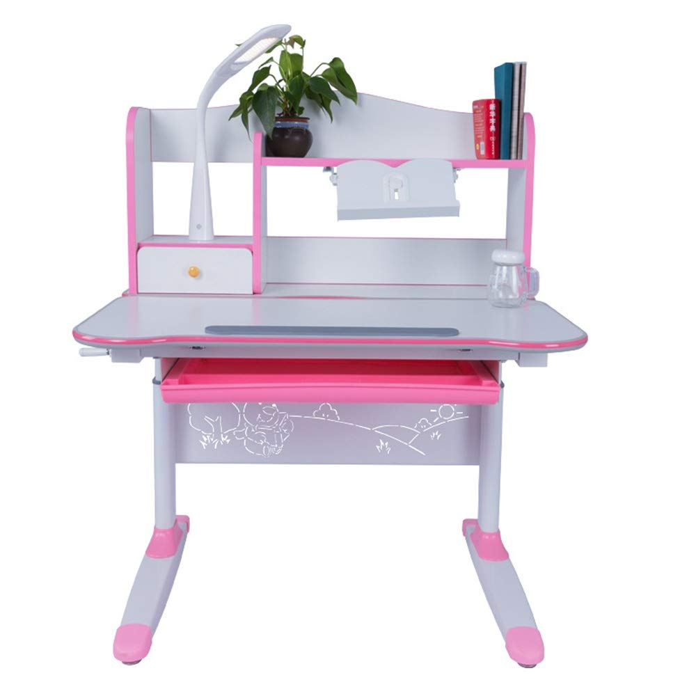 DERTHWER Kids' Desk & Chair Sets Childrens Study Wood Desk and Chair Set Tiltable Table and Chair Work Station Height Adjustable Perfect for Kids' Rooms Or Study Areas (Color : Pink) by DERTHWER