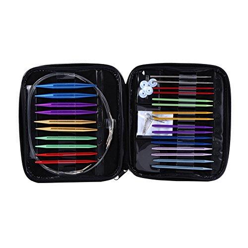 (Circular Knitting Needles Set Size 13 Interchangeable Aluminum Knitting Needles Circular 2.75mm-10mm with Case)