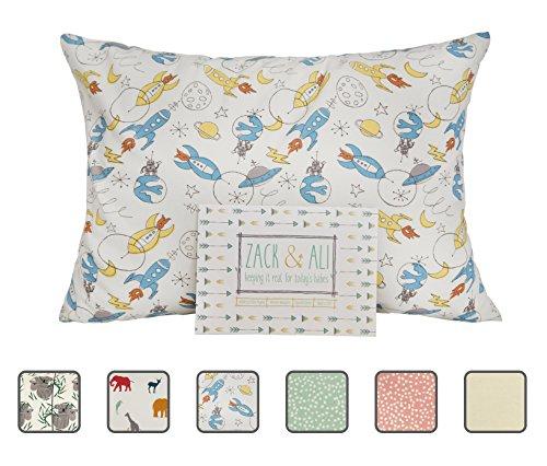Zack & Ali Organic Toddler Pillowcase, Rocketships, 13-Inch-by-18-Inch