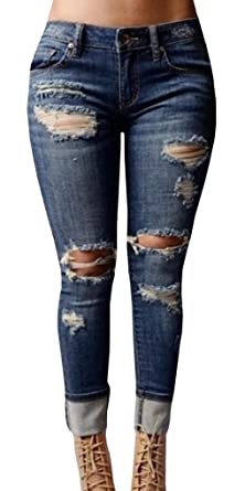 Chuanqi Women's High-waisted Ripped Holes Skinny Jeans Plus Size ...